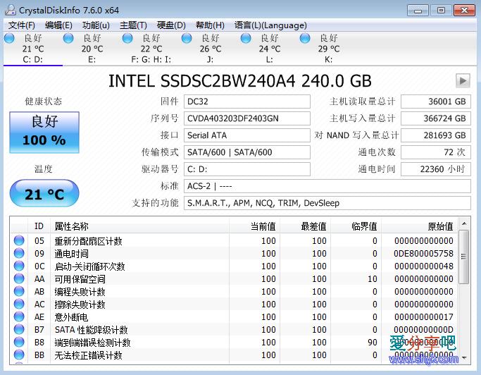 磁盘检测跑分 CrystalDiskInfo/CrystalDiskMark 7.6.0 多国语言绿色版